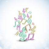 Shiny stylish musical notes. Royalty Free Stock Images