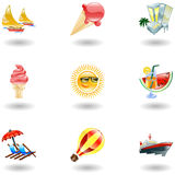 Shiny summer icons Royalty Free Stock Photo