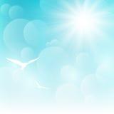 Shiny sun on blue sky Royalty Free Stock Photo