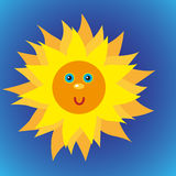Shiny sun in the blue sky. Vector illustration of cool single weather icon shiny sun in the blue sky Royalty Free Stock Photo