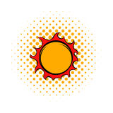 Shiny sun icon, comics style Stock Photo