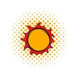 Shiny sun icon, comics style. Shiny sun icon in comics style on a white background Stock Photo