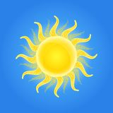 Shiny Sun Icon with Pattern Ornament on Beams Stock Photo