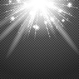 Shiny sunburst of sunbeams on the abstract sunshine background and transparency. Royalty Free Stock Images