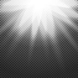 Shiny sunburst of sunbeams on the abstract sunshine background and transparency.  Royalty Free Stock Image