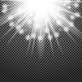 Shiny sunburst of sunbeams on the abstract sunshine background and transparency.  Royalty Free Stock Photography