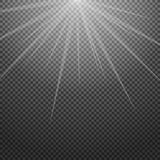 Shiny sunburst of sunbeams on the abstract sunshine background and transparency.  Stock Image