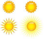 Shiny Suns. Four shiny sun images, weather icon graphics Royalty Free Stock Photos