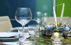 Shiny table setting Royalty Free Stock Images