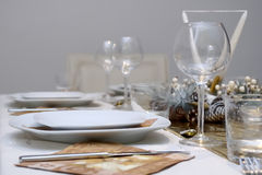 Shiny table setting Stock Image
