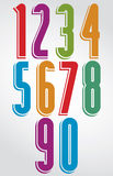 Shiny tall doodle rounded numbers with white outline. Royalty Free Stock Image
