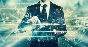 Shiny technology screen with man holding a tablet Royalty Free Stock Photos