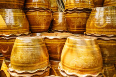 Shiny terra-cotta flower pot Royalty Free Stock Photo