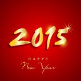 Shiny text design for Happy New Year 2015 celebration. Happy New Year 2015 celebration greeting card design with shiny golden text on red background Stock Photo