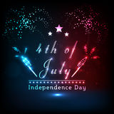 Shiny text with firework for American Independence Day. Shiny text 4th of July and sparkling fireworks on stylish background for American Independence Day Stock Image