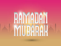 Shiny text with mosque for Ramadan Mubarak celebration. Shiny 3D wishing text Ramadan Mubarak on mosque silhouette decorated magenta and yellow background for Royalty Free Stock Photos