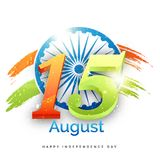 Shiny text 15th August with Ashoka Chakra on grungy national tri. Colours background vector illustration