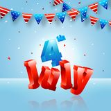 Shiny 4th of July text, Bunting Flags on blue background. Shiny 4th of July text, Bunting Flags on shiny blue background Stock Photo