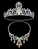 Shiny tiara and necklace with gemstones Royalty Free Stock Photos