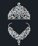 Shiny tiara and necklace with gemstones Royalty Free Stock Photography