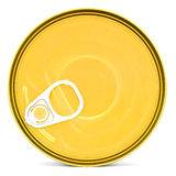 Shiny top of food can with pull-ring isolated Stock Photos