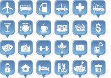 Shiny  travel icons in vector Royalty Free Stock Image