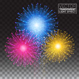 Shiny tricolor firework on the dark sky. Festive brightly. Colorful bursting.  on a transparent background. Vector illustration Royalty Free Stock Photos