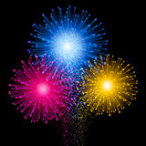 Shiny tricolor firework on the dark sky. Festive brightly colorful bursting. Vector black background.  Stock Photos