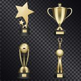 Golden Trophy Cups Realistic Vector Collection. Shiny trophy cups set. Golden stars, human figure with laurel wreath and word globe statuettes and goblet Royalty Free Stock Photography