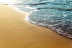 Shiny tropic sea wave. On golden beach sand in sunset light Stock Image