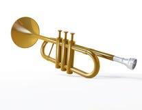 Shiny trumpet isolated on white Royalty Free Stock Image