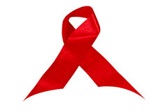 Shiny Twisted Red Ribbon Symbolising Aids Awareness Stock Photography