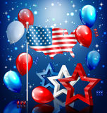 Shiny USA celebration independence day concept with nation flag Stock Images