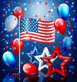 Shiny USA celebration independence day concept with nation flag. Stars confetti and balloons on blue background vector illustration