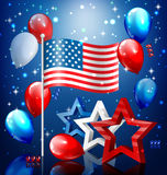 Shiny USA celebration independence day concept with nation flag. Stars confetti and balloons on blue background stock illustration