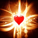 Shiny valentine background with red heart. Illustration Royalty Free Stock Photography