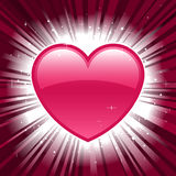 Shiny valentine heart on star burst background Royalty Free Stock Image