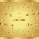 Shiny vector background with golden ribbons. Bright vector card with gold ribbons stock illustration