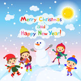 Shiny vector christmas background with funny snowman and children.. Happy new year postcard design with boy and girl enjoying the holiday. Winter snow with Royalty Free Stock Image