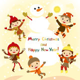 Shiny vector christmas background with funny snowman and children. Royalty Free Stock Photos