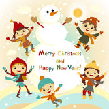 Shiny vector christmas background with funny snowman and children.  Royalty Free Stock Image
