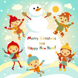 Shiny vector christmas background with funny snowman and children. Happy new year postcard design with boy and girl enjoying the h Stock Photo