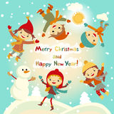 Shiny vector christmas background with funny snowman and children. Happy new year postcard design with boy and girl enjoying the h Stock Image
