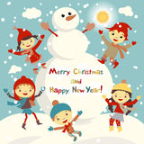 Shiny vector christmas background with funny snowman and children. Happy new year postcard design with boy and girl enjoying the h Royalty Free Stock Photos