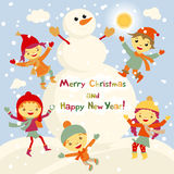 Shiny vector christmas background with funny snowman and children. Happy new year postcard design with boy and girl enjoying the h Royalty Free Stock Photography