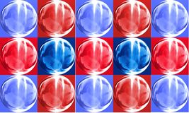 Shiny wall. Of 3d generated glass bricks of blue and red Stock Photos
