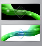 Shiny wave abstract background. Green color Stock Images