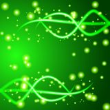 Shiny wave abstract background. Green color Stock Photography