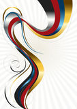 Shiny wavy stripes with swirling beads on bright radiant background Stock Photography