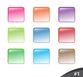 Shiny website buttons, part 1. A set of shiny colorful website buttons isolated over white background, part 1 Stock Images